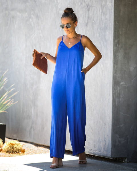 Platinum Card Pocketed Jumpsuit - Capri Blue