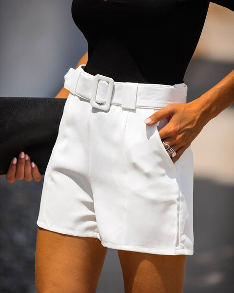 Future Is Bright Pocketed Belted Shorts - White
