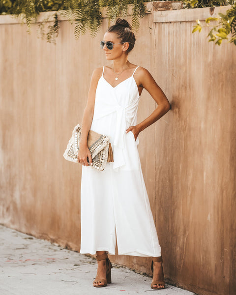 White Sandy Beaches Pocketed Tie Jumpsuit