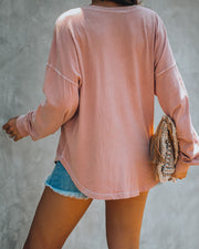 Yawn Cotton Relaxed Henley Top - Mauve