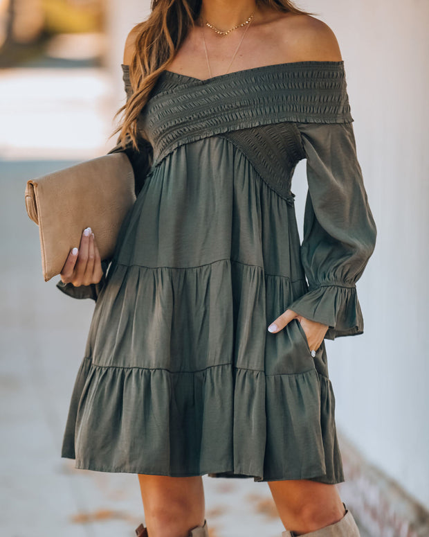 Sev Pocketed Smocked Off The Shoulder Dress - Olive