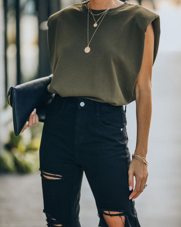 Zoe Padded Muscle Tee - Olive