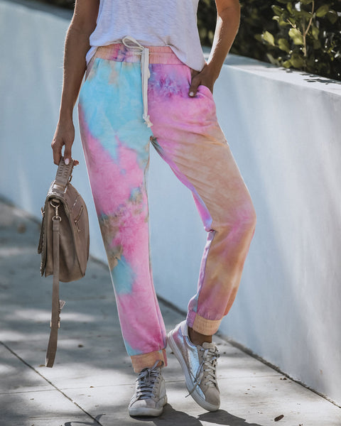 Loud Personality Pocketed Tie Dye Knit Joggers