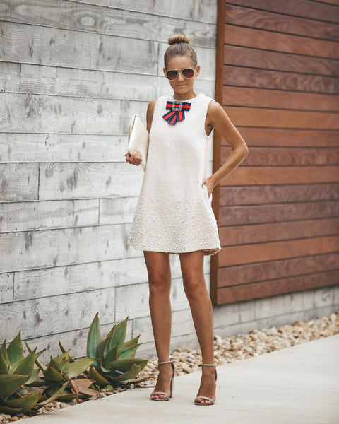 Phoebe Pocketed Embellished Shift Dress