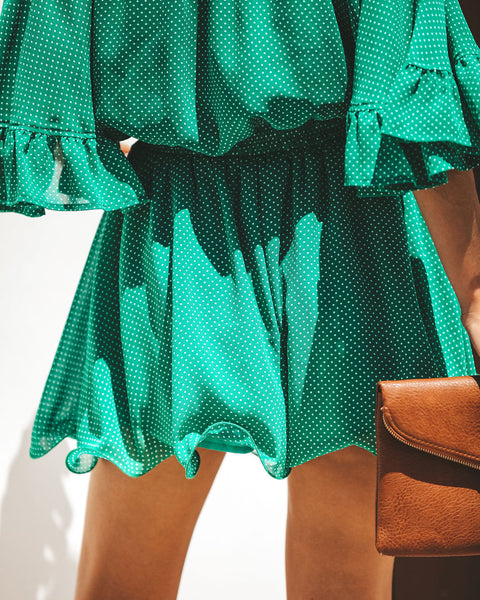 Green Acres Polka Dot Ruffle Shorts - FINAL SALE