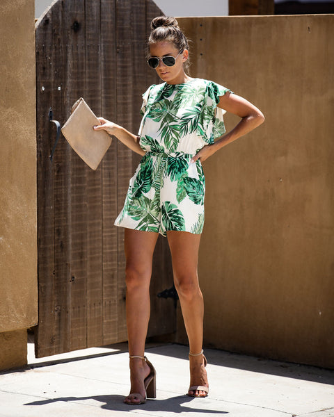 Hit Refresh Palm Print Pocketed Romper