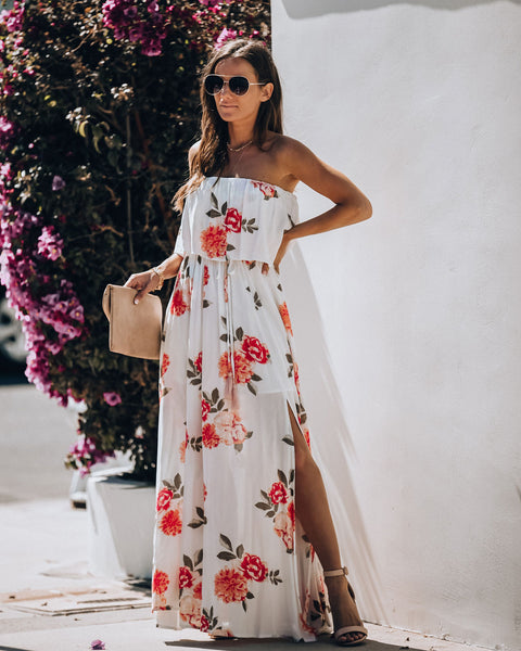 Call It A Dream Strapless Floral Maxi Dress