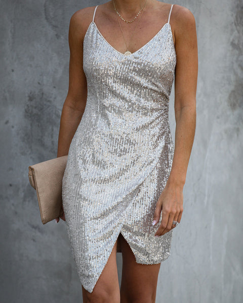 Double Or Nothing Sequin Mini Dress