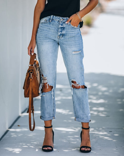 Kip High Rise Distressed Boyfriend Denim