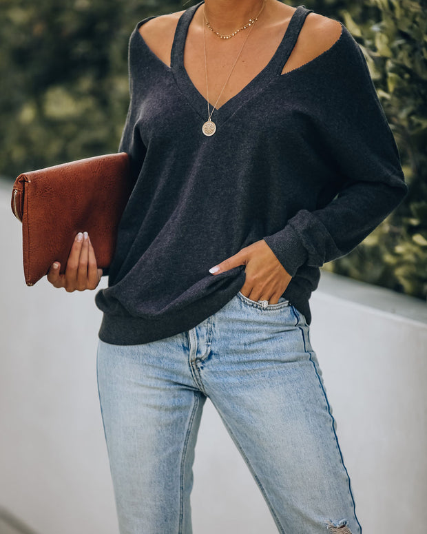 Suburb Cotton Cold Shoulder Top - Faded Black