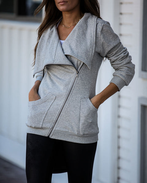 Cody Cotton Blend Pocketed Asymm Zip Jacket - Heather Grey - FINAL SALE