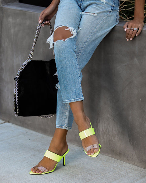 Upscale Clear Strap Heels - Neon Yellow