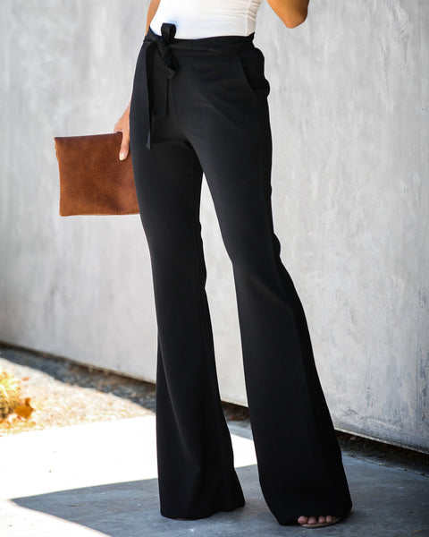 Dress To Impress Pocketed Flared Tie Pants - Black