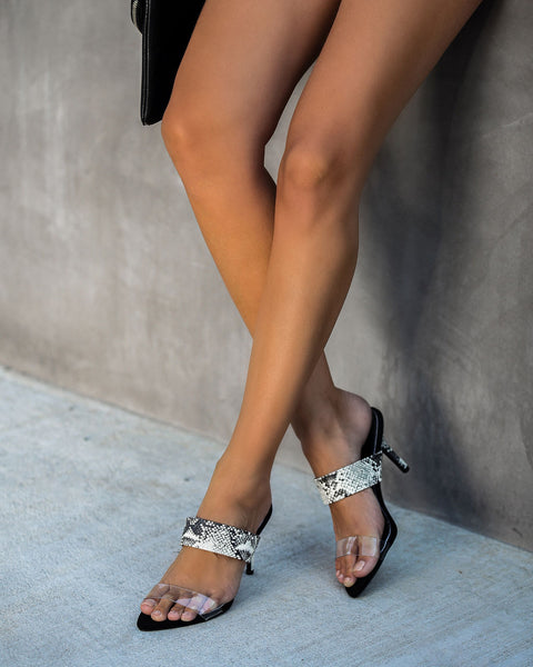 Upscale Clear Strap Heels - Snake
