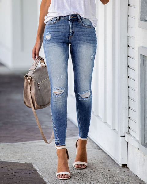 Reformation Mid Rise Frayed Ankle Skinny - FINAL SALE