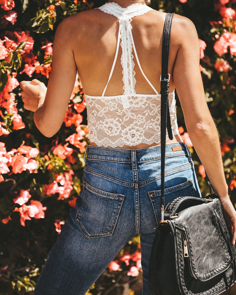 Feel The Passion Halter Lace Bralette - Ivory