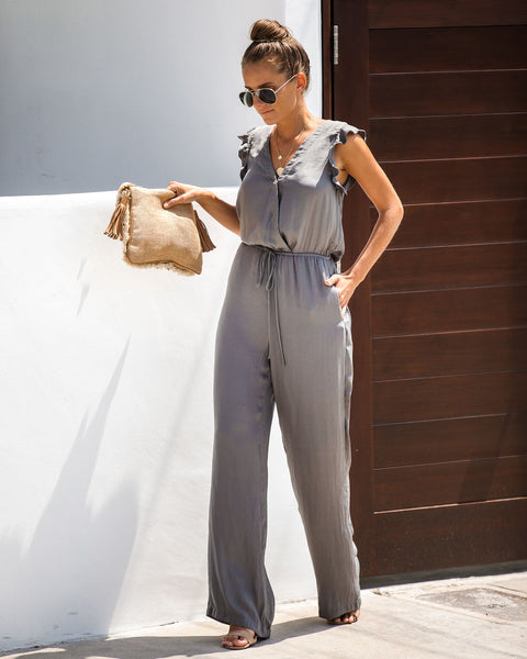 Cool Breeze Pocketed Jumpsuit - Ash Olive - FINAL SALE