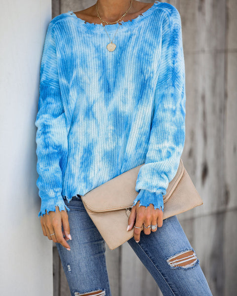Spiral Distressed Versatile Cotton Knit Sweater - Blue - FINAL SALE