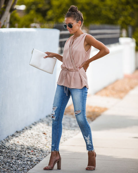 Mind Over Matter Sleeveless Wrap Blouse - Champagne
