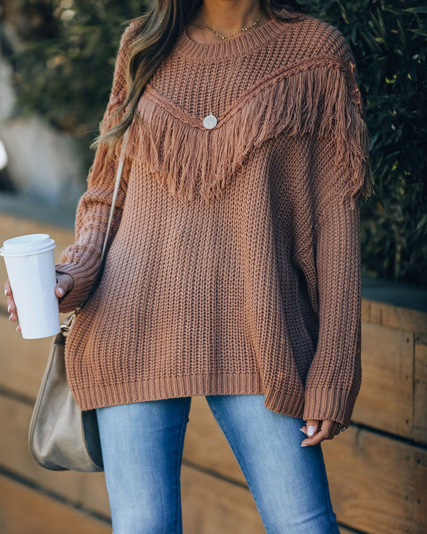 Ian Fringe Knit Sweater - Latte