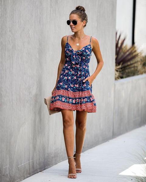 Immunity Pocketed Floral Tie Dress - FINAL SALE
