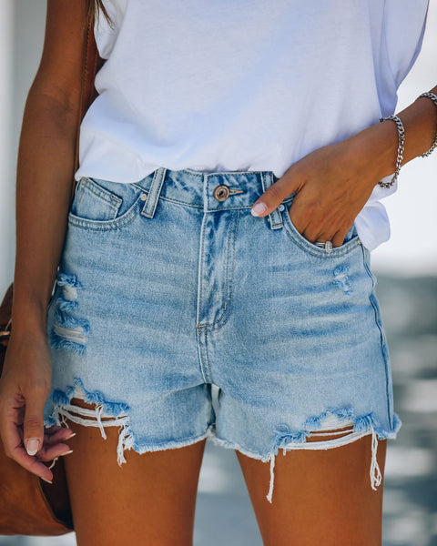 PREORDER - Nathan High Rise Distressed Denim Shorts
