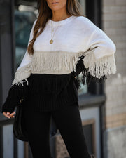 Dillon Colorblock Fringe Knit Sweater