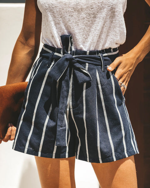 American Dream Pocketed Cotton Blend Tie Shorts