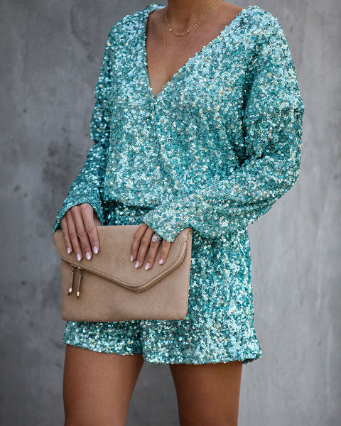 Annual Party Sequin Romper - Blue - FINAL SALE
