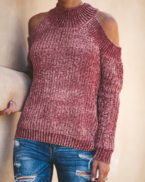c717b49d73db14 Depth Of Soul Cold Shoulder Sweater - Mauve