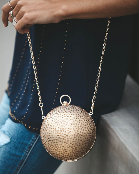 Miley Embellished Sphere Chain Bag - Gold