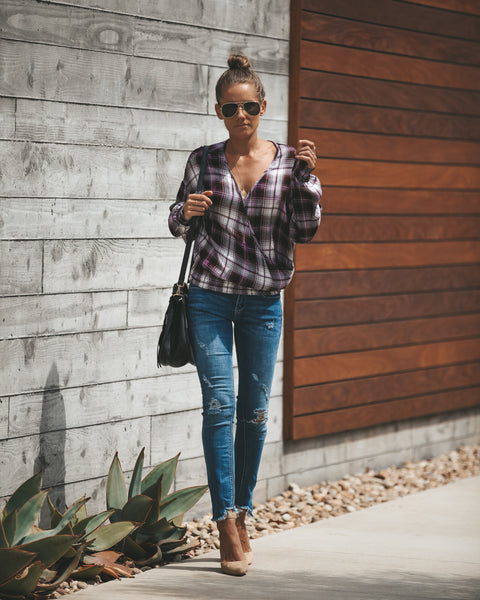 Ariana Drape Plaid Top - FINAL SALE