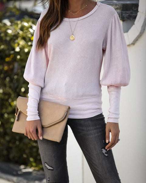 Off The Record Cotton Thermal Knit Top - Dusty Pink