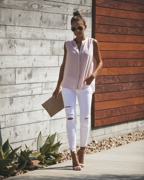 Evora Button Down Tank - Blush