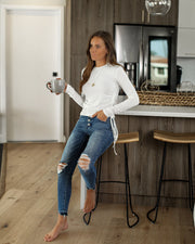 Tell Your Story Long Sleeve Ruched Tie Top - Off White - FINAL SALE