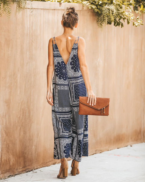 Bandana Printed Pocketed Jumpsuit - FINAL SALE