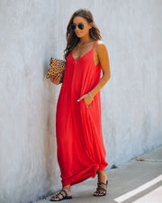Olivian Pocketed Maxi Dress - Flame Red