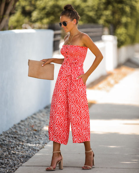 Kinsey Smocked Strapless Pocketed Jumpsuit - Coral