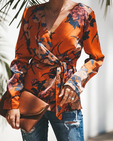 Grateful Ginger Lily Wrap Blouse