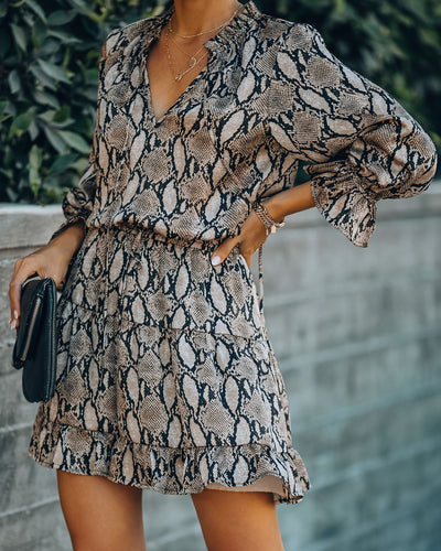 Dusk Till Dawn Satin Snake Print Ruffle Dress