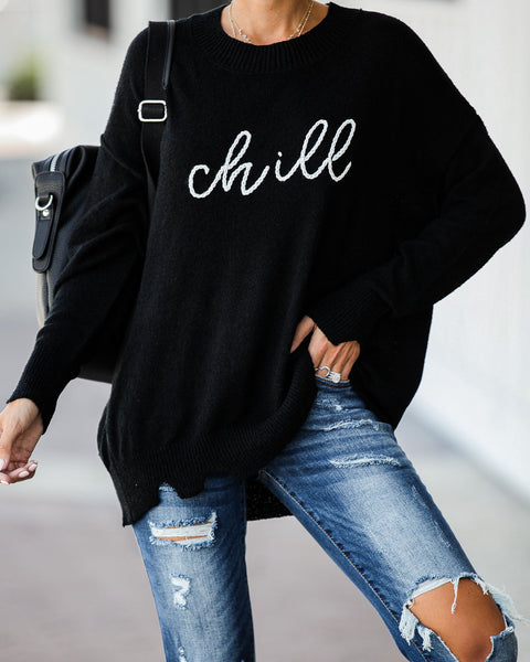 Need To Chill Embroidered Distressed Knit Sweater