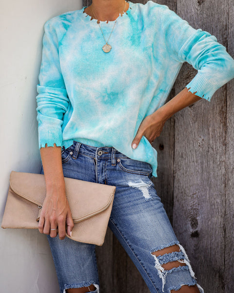 Maira Tie Dye Distressed Cotton Knit Sweater - FINAL SALE