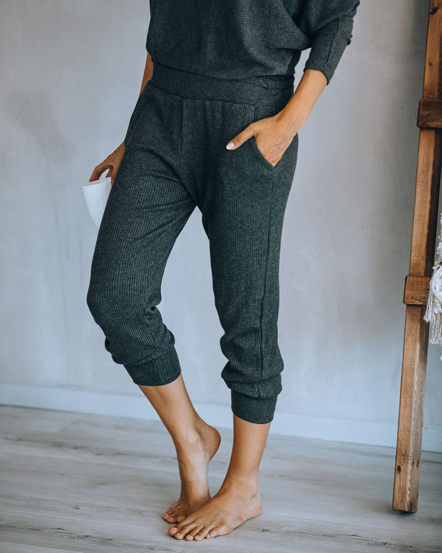 Count Sheep Pocketed Ribbed Knit Joggers - Charcoal