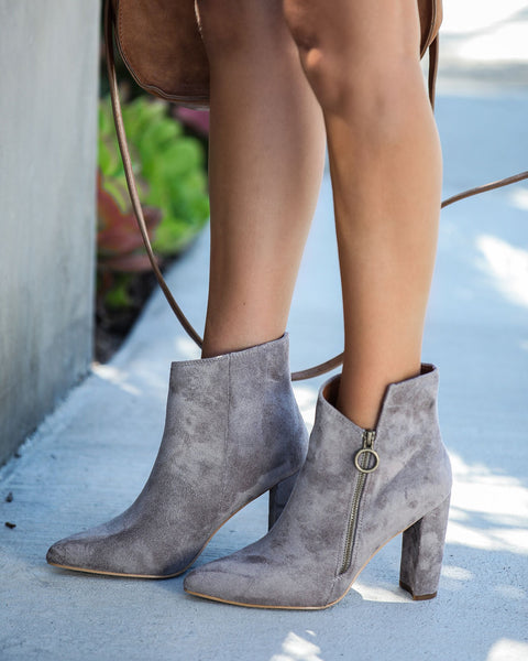 Outgoing Faux Suede Heeled Bootie - Grey