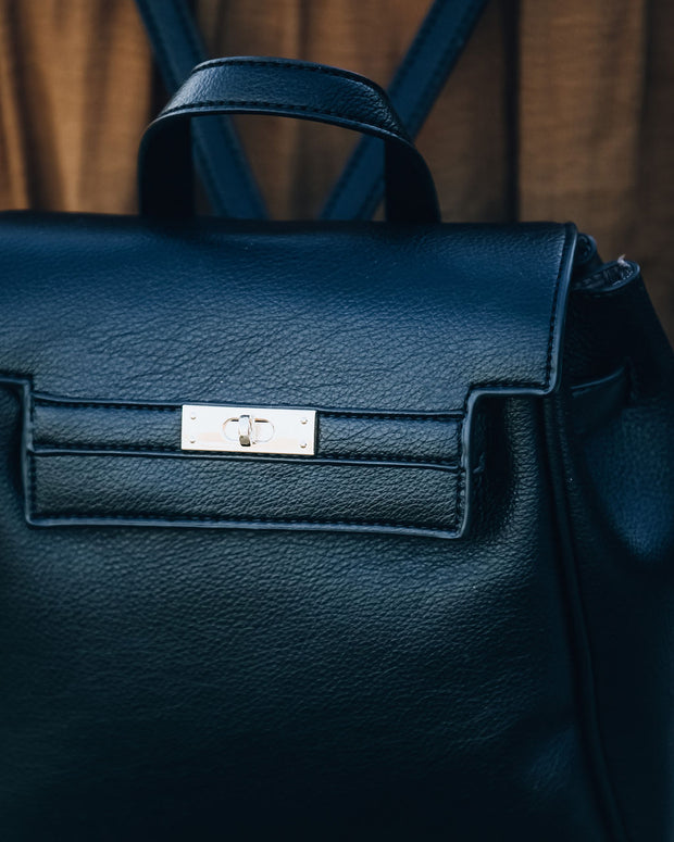 Lainey Faux Leather Backpack - Black view 6