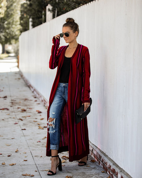Ready Or Not Striped Duster Cardigan