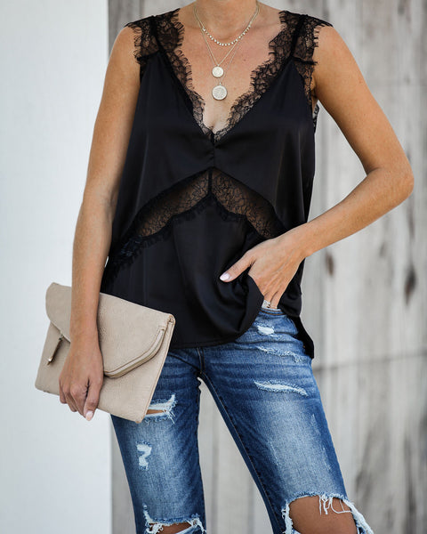 Paramount Lace Mix Cami Tank - Black