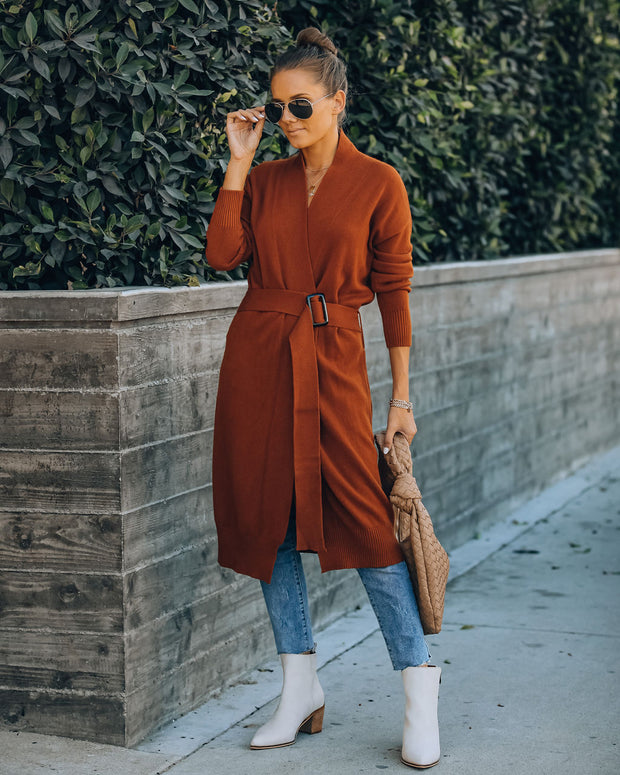 Choose Hope Belted Knit Cardigan - Rust