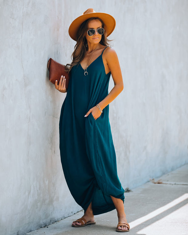 Olivian Pocketed Maxi Dress - Teal