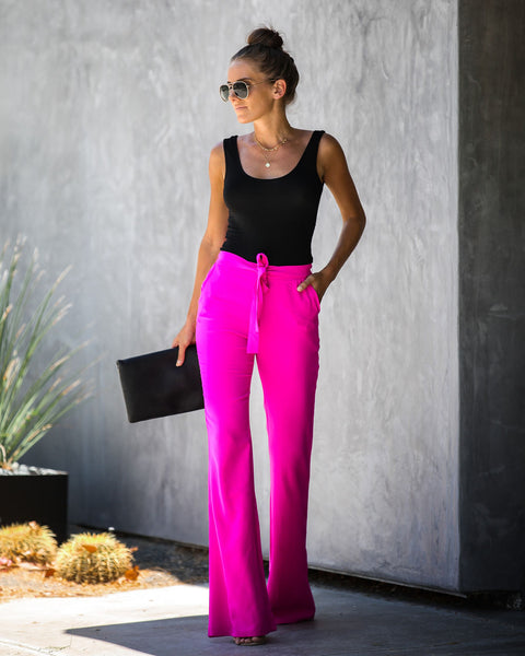 Dress To Impress Pocketed Flared Tie Pants - Magenta